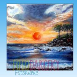 """Maľovaný obraz """"Západ slnka na Cypre"""""""