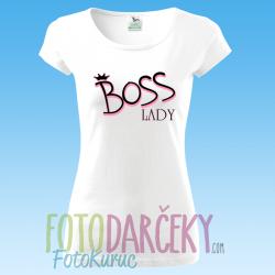 "Biele tričko dámske Pure ""BOSS lady"""