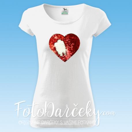 Tričko Pure dámske s flitrovanou potlačou - srdce