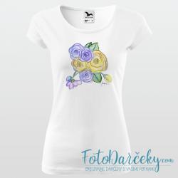 """Dámske tričko """"Žlté a fialové ruže"""""""