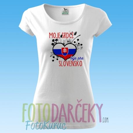 "850133ff20f5d Dámske tričko ""Moje srdce bije pre Slovensko"" - FOTODARČEKY FOTO ..."